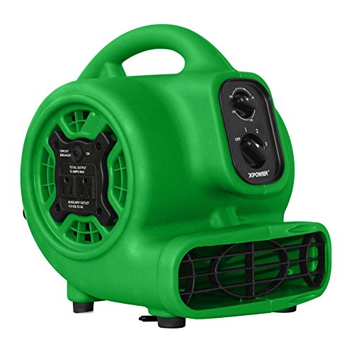 - XPOWER P-230AT Multi-Purpose Mini Mighty Air Mover, Utility Fan, Dryer, Blower with Power Outlets and Timer for Restoration, Cleaning, Home and Plumbing Use - 1/5 HP, 800 CFM, 3 Speeds, Green