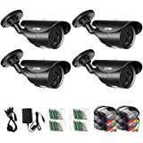 ZOSI 4 Pack 1000TVL 960H indoor outdoor Day Night Vision Weatherproof 42pcs IR Infrared Leds Security Cameras Kits-3.6mm lens, 120ft IR Distance, Aluminum Metal Housing