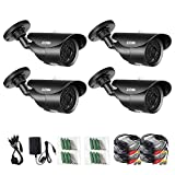ZOSI 4 Pack 1000TVL 960H indoor outdoor Day Night Vision Weatherproof 42pcs...