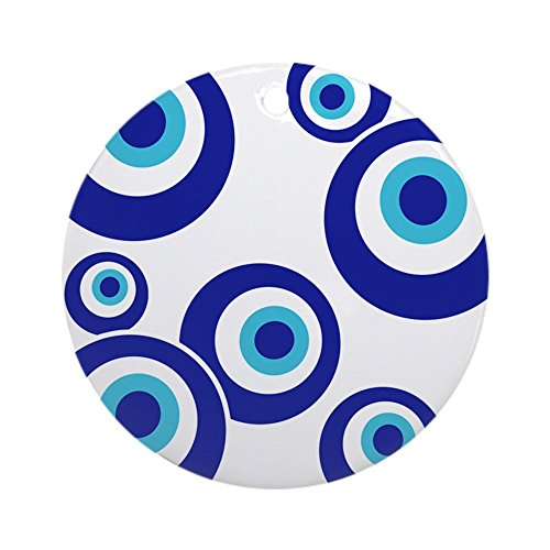 CafePress - Mod Evil Eyes Ceramic Amulet / Gift Tag /Ornament - Round Holiday Christmas Ornament - Mod Evil Eyes