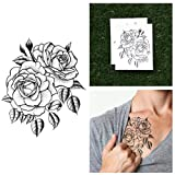 Tattify Traditional Flower Temporary Tattoo - Twin Rose (Set of 2) - Other Styles Available and Fashionable Temporary Tattoos