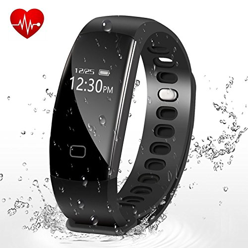 Fitness Tracker,Letufit Heart Rate Activity Tracker Smart Bracelet with Sleep Monitor,Pedometer for iOS & Android (black)