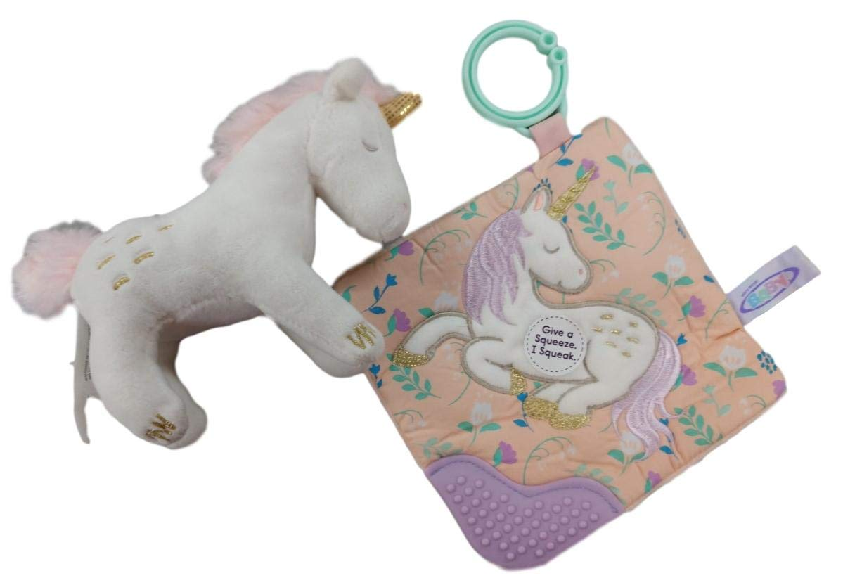 Unicorn Plush Rattle and Crinkle Sensory Teether Toy and Gift Set for Baby Shower Includes Gift Card Multiple
