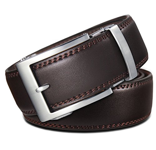Classic Men's Leather Ratchet Click Belt - Brushed Silver Buckle with Double Stitched Brown Leather Belt (Trim to Fit: Up to 38'' Waist)