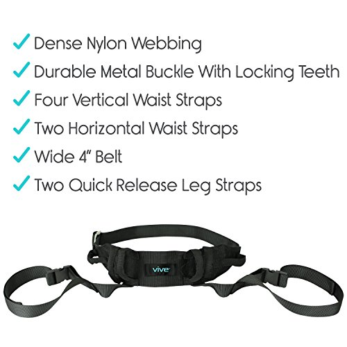 Transfer Belt with Leg Loops by Vive - Medical Nursing Safety Gait Assist Device - Bariatrics, Pediatric, Elderly, Occupational & Physical Therapy - Long Strap & Quick Release Metal Buckle - 55 Inch by Vive (Image #4)