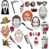 Halloween Photo Booth Props - Creepy Zombie/Vampire/Trick or Treat Party Supplies Decorations, Halloween Pose Sign Kit for Party Decoration