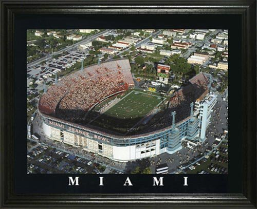 Miami Hurricanes - Miami Orange Bowl Aerial - Lg - Framed Poster Print -