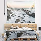 Designart TAP10909-80-68 'Bay of Biscay Atlantic Coast Spain' Landscape Tapestry Blanket Décor Wall Art for Home and Office, x Large: 80 in. x 68 in.