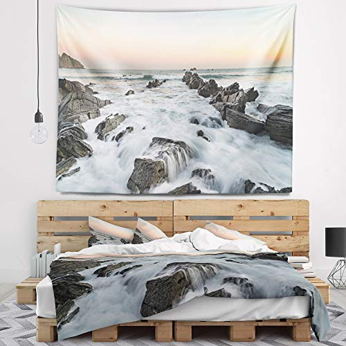 Designart TAP10909-39-32 'Bay of Biscay Atlantic Coast Spain' Landscape Tapestry Blanket Décor Wall Art for Home and Office, Medium: 39 in. x 32 in, Created on Lightweight Polyester Fabric by Designart