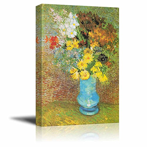 Flowers in a Blue Vase 1887 by Vincent Van Gogh Print Famous Oil Painting Reproduction