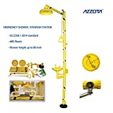 Azzota Combination Emergency Station with SHOWER / EYEWASH with ABS Plastic bowl, head and pipes, Yellow, with sign and inspection tag