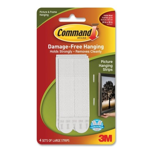 """Command Picture Hanging Strips Up To 24"""" X 36"""" 4 Sets Large White 5/8"""" H X 3/4""""W X 1/10"""" D"""