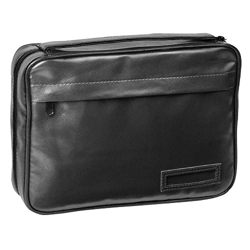(X-Large Black Zipper Pocket Reinforced Polyester Bible Cover Case with Handle )