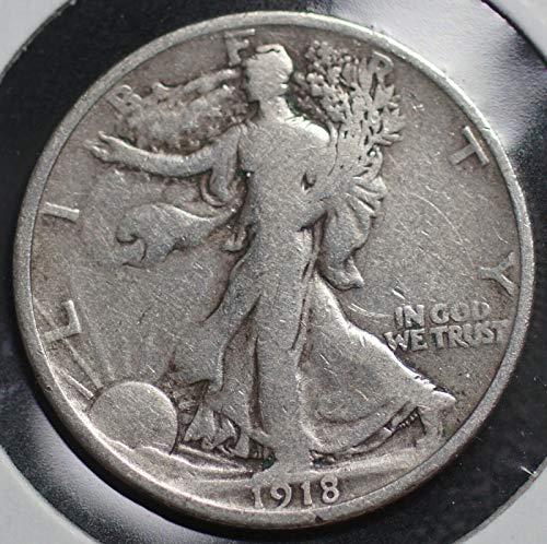 1918 Walking Liberty 90% Silver Half Dollar VG and Better Full Rim and Full Date US Mint (Dollar 1918 Half Silver)