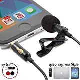 Lavalier Lapel Microphone ­ Omnidirectional Mic with Easy Clip On System ­ Perfect for Recording Youtube / Interview / Video Conference / Podcast / Voice Dictation / iPhone