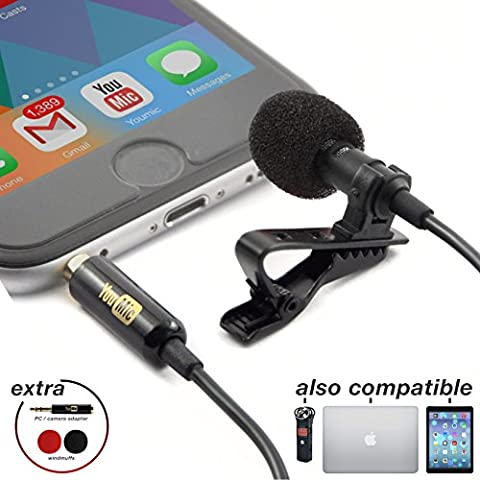 Lavalier Lapel Microphone with Easy Clip On System | Perfect for Recording Youtube Vlog Interview / Podcast | Best Lapel Mic for iPhone iPad iPod Android Mac - Drum Kit Microphone System