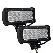 AUXTINGS 7'' inch 36W Flood Beam LED Work Light Bar for Off Road Work lamp ATV SUV Jeep Mine Boat Lamp(2 Pieces)