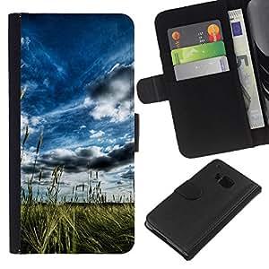 NEECELL GIFT forCITY // Billetera de cuero Caso Cubierta de protección Carcasa / Leather Wallet Case for HTC One M9 // Pintoresco campo del verano