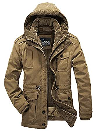 Heihuohua Men's Winter Warm Parka Jacket Military Fur