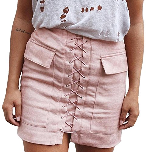 LAEMILIA Femme Jupe Mini Courte en Daim Lacet Slim Sexy Elgant Fermeture Glissire Skirt Taille Haute Rtro Robe Moulante Rose