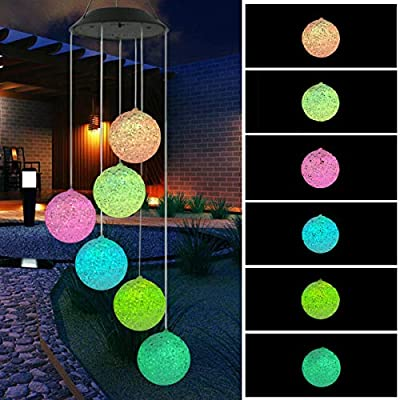 BINWO Solar Wind Chime, Color Changing Outdoor Waterproof LED Wind Chime Solar Powered Colorful Light for Home/Party/Yard/Festival Decoration/Valentines Gift