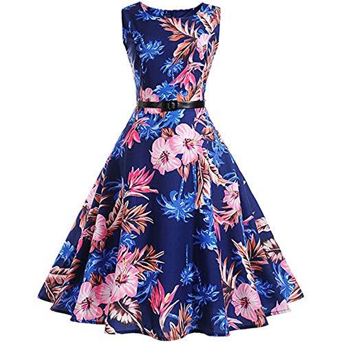 Retro Swing Vintage Dress A-Line Party Dresses Belt Jurken Plus Size 1023 M