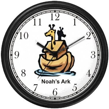 Noah s Ark No.3 – Biblical Theme Wall Clock by WatchBuddy Timepieces Hunter Green Frame