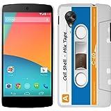 LG Google Nexus 5 Case - White, Blue & Orange Hard Plastic (PC) Cover with Retro Funny Cassette Design