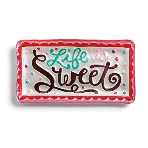 Life Is Sweet Multicolored Scalloped Border 12 x 6 Glass Rectangular Platter ()