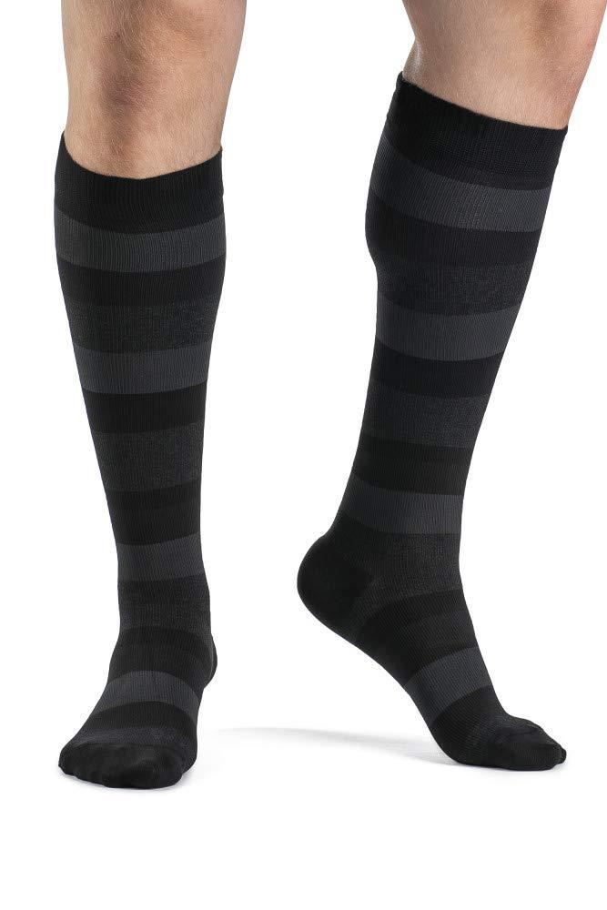 SIGVARIS Men's Style Microfiber Patterns 830 Closed Toe Calf-High Socks 20-30mmHg