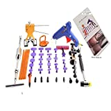GS PDR 51pcs Auto Paintless Dent Repair Tools Include Glue Gun Dent Puller Slide Hammer Dent Lifter 24pcs Different Size Dent Tabs Bridge Puller Car Repair Body Fix Tools Dent Removal Kit