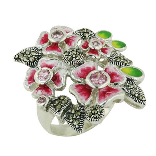 - .925 Sterling Silver Pink Flower Ring with Marcasite Pave leaf aside size 6