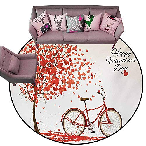 Washable Kitchen Area Rug Valentines Day,Romantic Tree with Blooming Hearts with Bike and Petals Vintage Artwork,Cream Vermilion Diameter 54