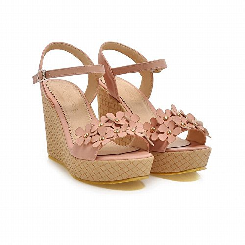 Carolbar Mujeres Chic Sweet Buckle Applique Cute Fashion Summer Platform Cuñas Sandalias Rosa