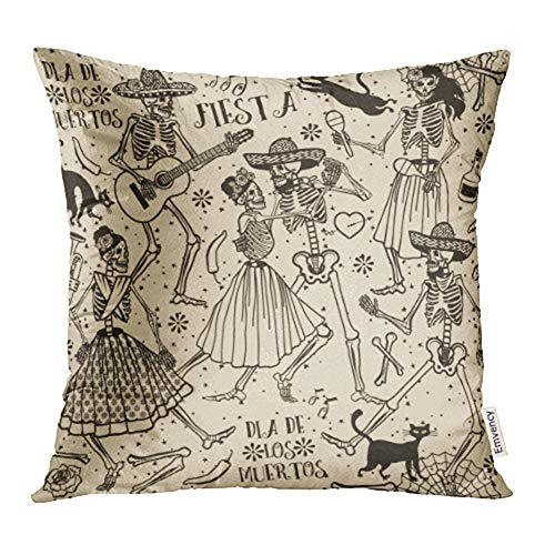 Emvency 18x18 Inch Throw Pillow Covers Decorative Case Black Halloween with Skeletons Dia De Los Muertos The Dance Red Day Dead Cat Cover Square Pillowcase Cushion Cases Print On Two Sides ()