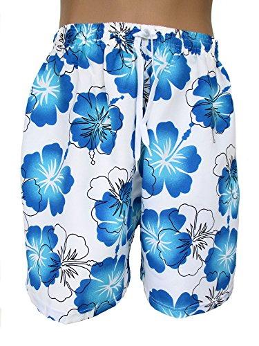 Herren Bermudas, Shorts, kurze Hose, Badeshorts, Blumenmuster, Hawaii, weiß-hellblau,AM-HE-EF-wHG-hblBl