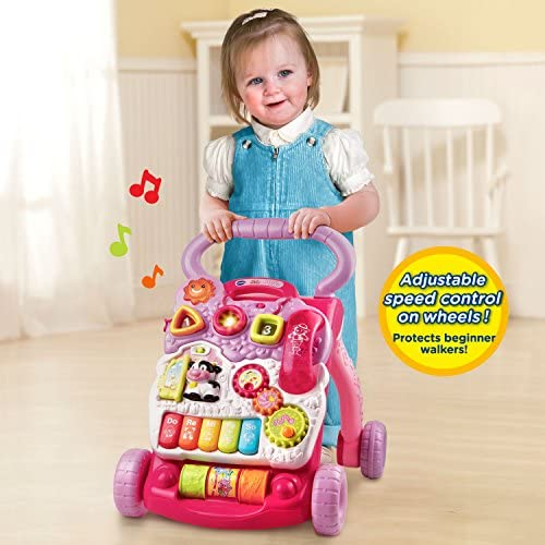 51FKv7iUy3L. AC - VTech Sit-to-Stand Learning Walker (Frustration Free Packaging), Pink