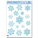 Beistle Crystal Snowflake Clings, 12-Inch by 17-Inch Sheet