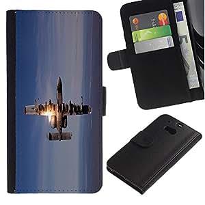 LECELL--Cuero de la tarjeta la carpeta del tirón Smartphone Slots Protección Holder For HTC One M8 -- Figther Jet Plane --