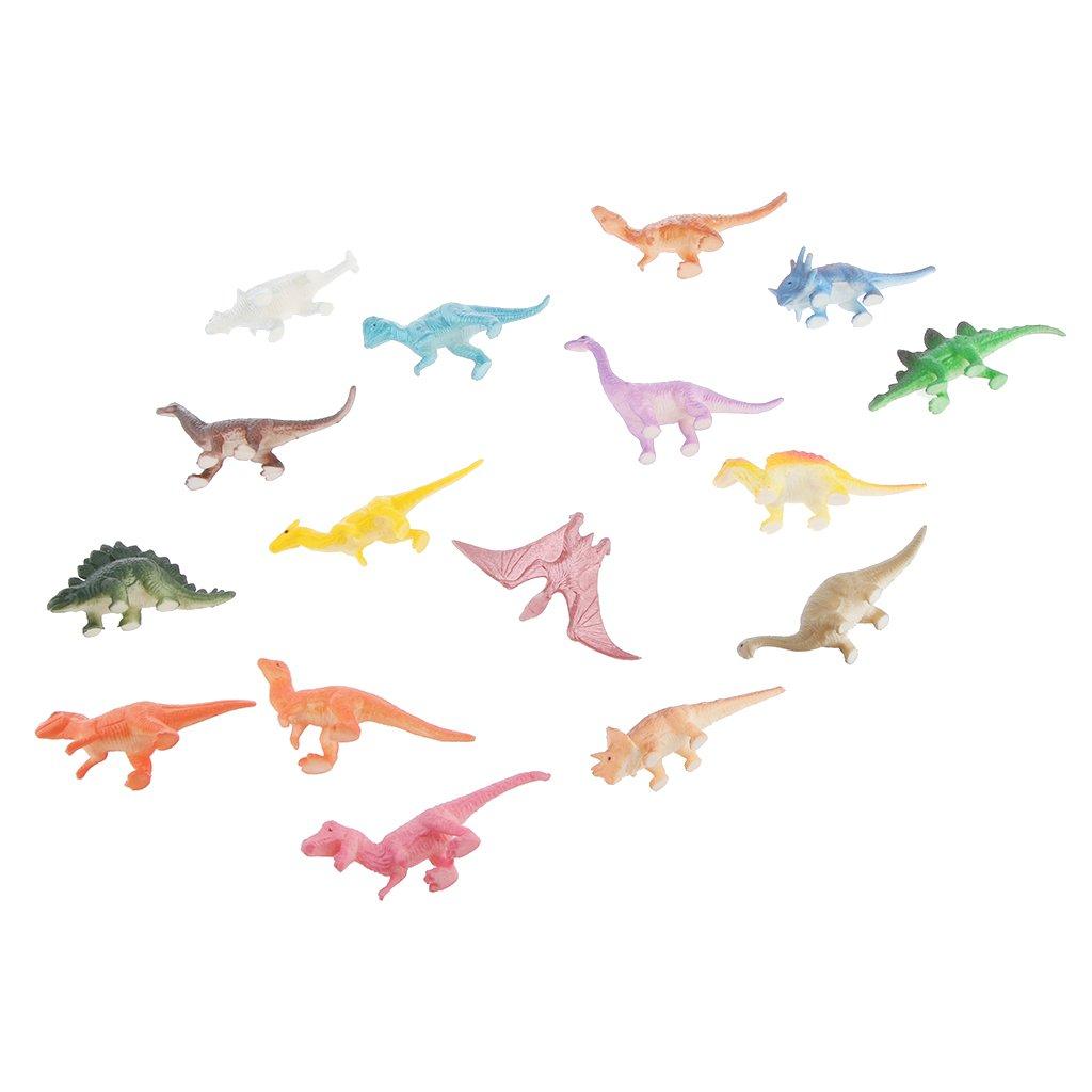 16 pcs Solid Plastic Simulation Dinosaur Mini Models Kids Collection Set Generic