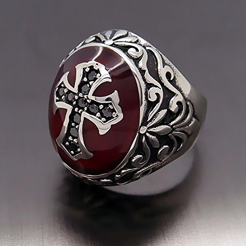 Naomi Vintage Men BOY Silver Ruby Red Cubic Zirconia Cross 316L Stainless Steel Ring Jewelry Multi-Color 13