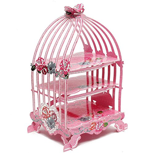 Cupcake Holder - TOOGOO(R)Birdcage Cupcake Cardboard Cake Stand Vintage Wedding Tea Party Display Holder pink