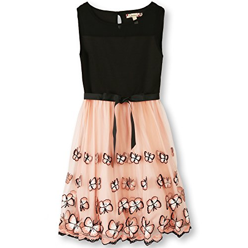 Speechless Big Girls' Party Dress with Embroidered Mesh Skirt, Blush Black Butterfly, 7 ()