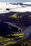 Iceland - High angle view of a river flowing through mountains, Mælifellssandur 30x40 photo reprint