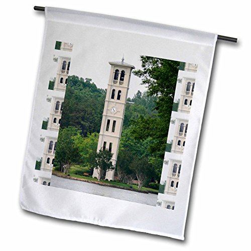 3dRose Fl_61719_1 Bell Tower at Furman University Greenville Garden Flag, 12 by 18-Inch (Tower University)