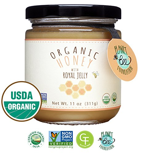 Fresh Royal Jelly - GREENBOW Organic Honey w/ Fresh Royal Jelly - 100% USDA Certified Organic, Gluten Free, Non-GMO - Highest Quality Whole Food Organic Royal Jelly Honey (11oz_Fresh Royal Jelly contents 16,000 mg)