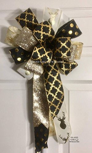 Black And Gold Wreath Bow, Champagne Gold and Black Wreath Bow, New Year's Eve Wreath Bow, New Year's Eve - Years New Wreath