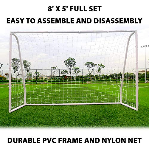 8' x 5' Soccer Goal Football w/ Net Straps Anchor Ball Training Sets With Frame - Leave These Soccer Goals Up in All Weather Conditions - Ideal for use on The Beach, Community Playground, School, etc