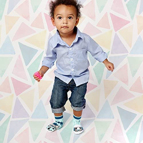 Kids Wolf /& Sheep Barn Farm Animal Pals Mismatched Modern Cute Socks for Boys Girls with Nonskid No Slip Grippers