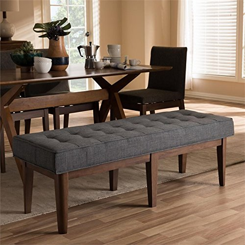 Baxton Studio Lucca Button Tufted Dining Bench in Dark Gray